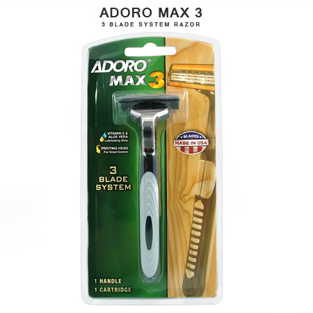 [:bd]ADORO MAX 3 MEN'S DISPOSABLE SHAVING RAZOR[:]